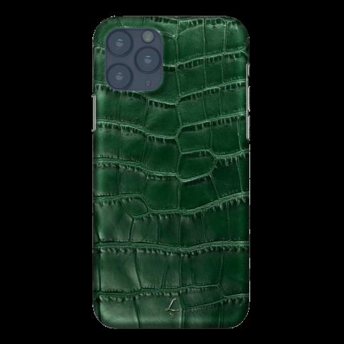 Чехол на IPhone 11 зеленый кожаный