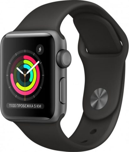 Apple Watch Series 3 38mm Space Gray Black Band