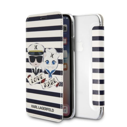 Lagerfeld iPhone X/Xs Sailor stripes Booktype White/Blue
