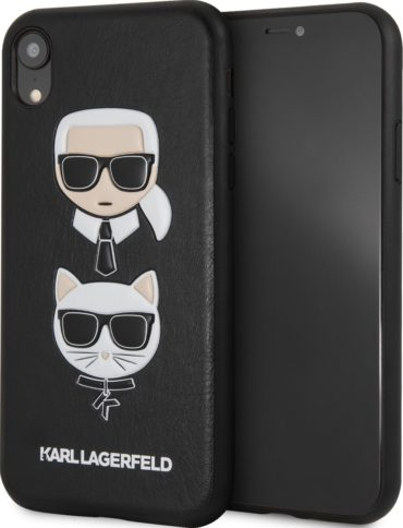 Lagerfeld iPhone Xr PU Leather Karl and Choupette Hard Black