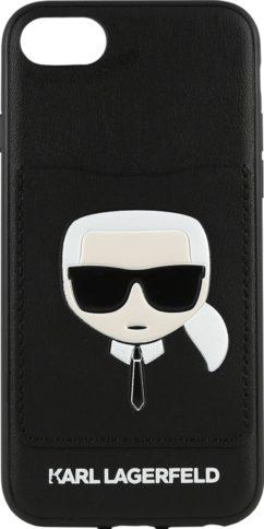 Lagerfeld iPhone 8/SE Leather Karl's Head Hard Cardslot