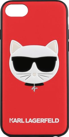 Lagerfeld iPhone 8/SE Leather Choupette Glitter Hard Red