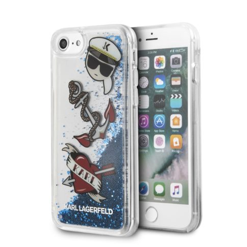 Lagerfeld iPhone 7/8 Liquid glitter Captain Karl Hard Blue