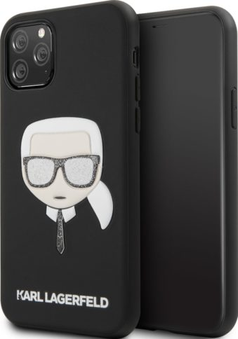 Lagerfeld iPhone 11 Pro Leather Iconic Karl Glitter Black