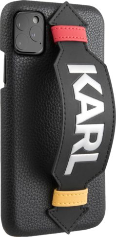 Lagerfeld iPhone 11 Pro Leather with strap Karl logo Black