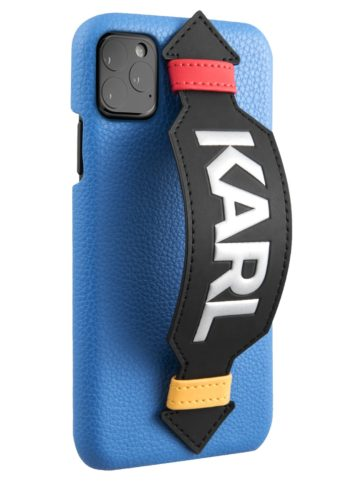 Lagerfeld iPhone 11 Pro Leather with strap Karl logo Blue