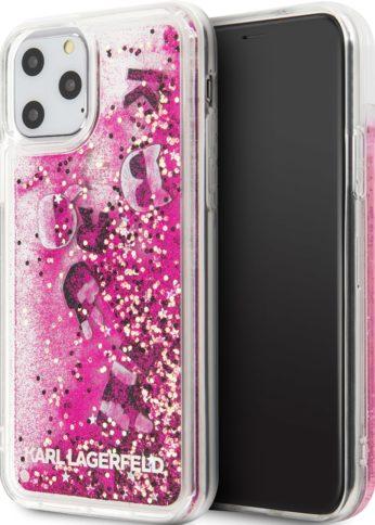 Lagerfeld iPhone 11 Pro Liquid Floatting charms Hard Black/Rose Gold