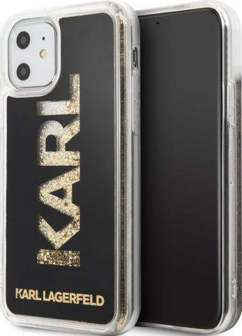 Lagerfeld iPhone 11 Liquid glitter Karl logo Hard Black/Gold