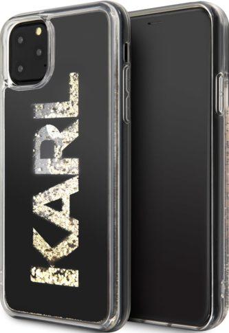 Lagerfeld iPhone 11 Pro Max Liquid glitter Karl logo Hard Black/Gold