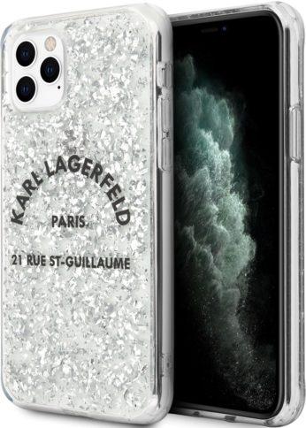 Lagerfeld iPhone 11 Pro Max Glitter Rue Saint Hard Silver