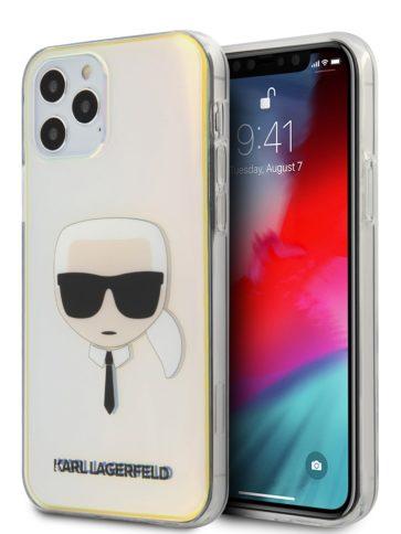Lagerfeld iPhone 12 Pro Max TPU Ikonik Karl's Head Iridescent