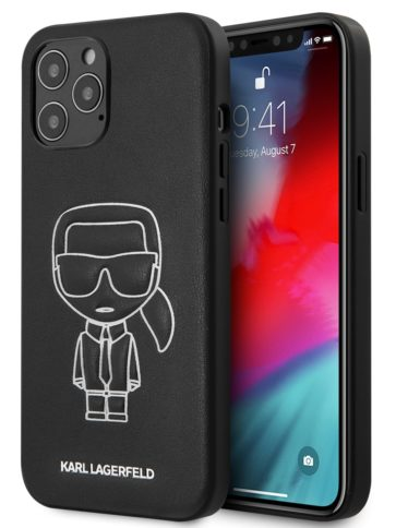 Lagerfeld iPhone 12 Pro Max PU Ikonik outlines Black/White