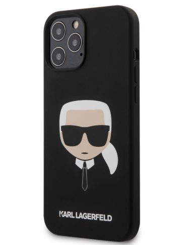 Lagerfeld iPhone 12 Pro Max Silicone Karl's Head Black
