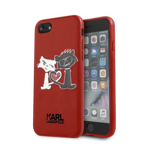 Lagerfeld iPhone 7 Choupette in Love Hard PU Red