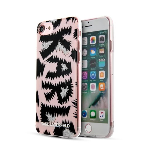 Lagerfeld iPhone 7/8 Double Layer Karl Leopard Hard TPU Pink