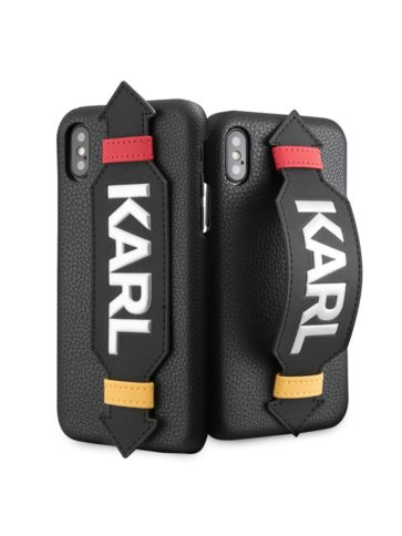 Lagerfeld iPhone X/XS Leather with strap Karl logo Black
