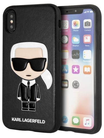 Lagerfeld iPhone X/Xs PU Leather Iconic Karl Hard Black