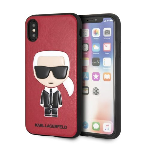 Lagerfeld iPhone X/XS Leather Karl Hard Red