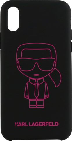 Lagerfeld iPhone X/XS Silicone Karl Black/Pink