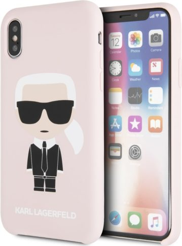 Lagerfeld iPhone Xs Silicone Iconic Karl Hard Pink