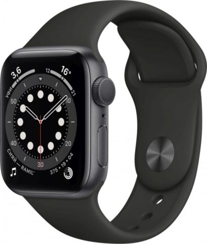 Apple Watch Series 6 40mm Space Gray Black Sport Band