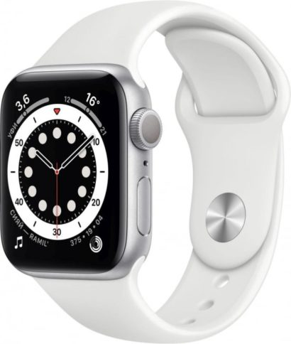 Apple Watch Series 6 44mm Silver White Band