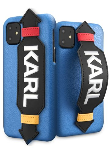 Lagerfeld iPhone 11 Strap Karl PU Leather Blue