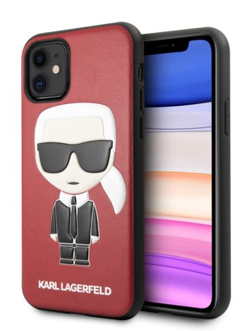 Lagerfeld iPhone 11 Leather Iconik Karl Red