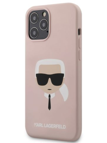 Lagerfeld iPhone 12 Pro Max Silicone Karl's head Pink