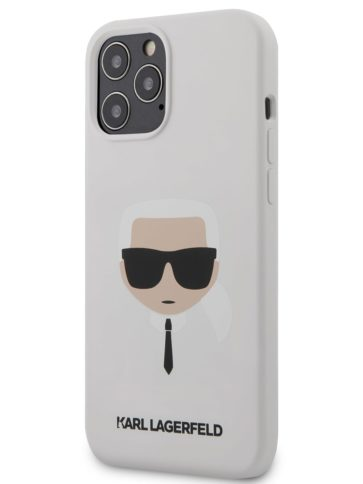 Lagerfeld iPhone 12 Pro Max Silicone Karl's head White
