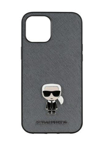 Lagerfeld iPhone 12/12 Pro Saffiano Ikonik Karl Silver