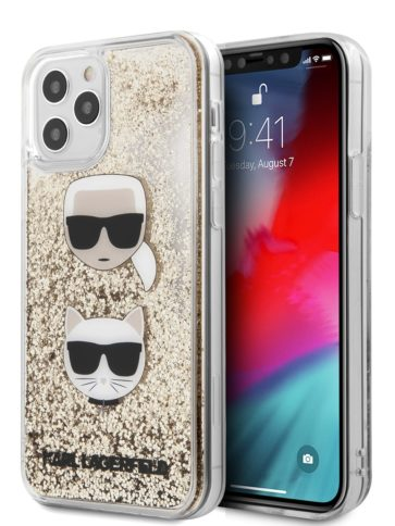 Lagerfeld iPhone 12/12 Pro Glitter Karl and Choupette Gold