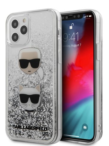 Lagerfeld iPhone 12/12 Pro Glitter Karl and Choupette Silver