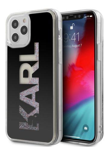 Lagerfeld iPhone 12/12 Pro Glitter Karl logo Black