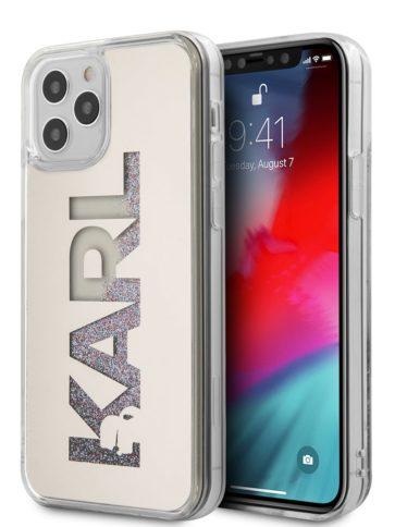 Lagerfeld iPhone 12/12 Pro Glitter Karl logo Silver