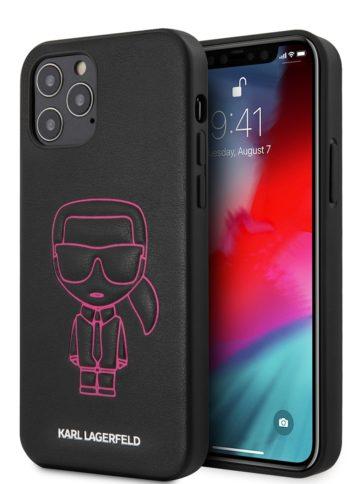 Lagerfeld iPhone 12/12 Pro Ikonik Metal logo Black/Pink