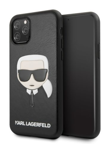 Lagerfeld iPhone 11 Pro Max PU Leather Karl's Head Black
