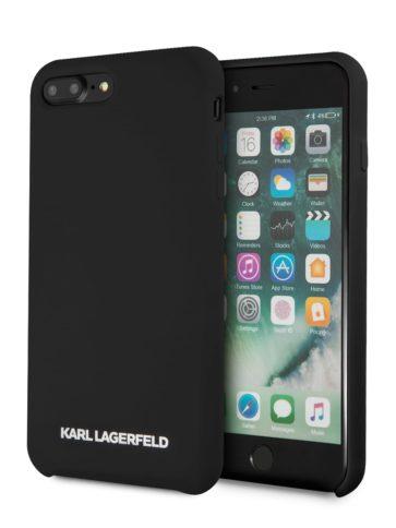 Lagerfeld iPhone 8 Plus Silicone Gold Logo Hard Black