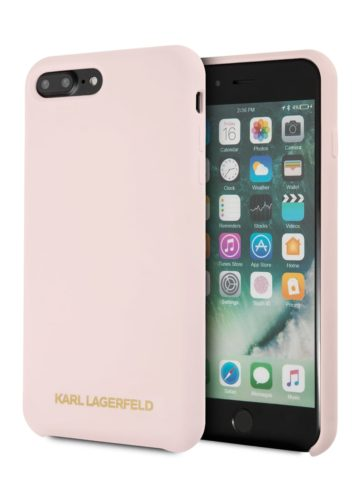 Lagerfeld iPhone 8 Plus Silicone Gold Logo Hard Light Pink