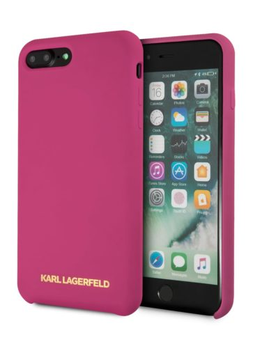 Lagerfeld iPhone 8 Plus Silicone Gold Logo Hard Pink
