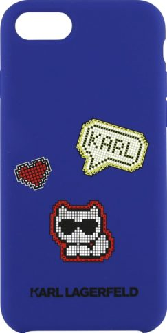 Lagerfeld iPhone 8 Silicone Pixel Choupette Hard Blue