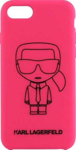 Lagerfeld iPhone 8 Silicone Ikonik Outlines Hard Pink/Black