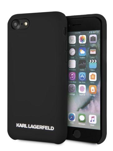 Lagerfeld iPhone 8 Silicone Gold Logo Hard Black