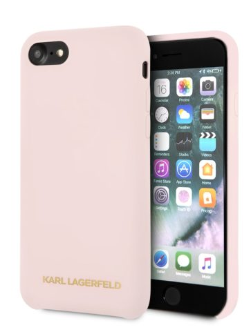 Lagerfeld iPhone 8 Silicone Gold Logo Hard Light Pink