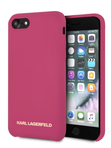 Lagerfeld iPhone 8 Silicone Gold Logo Hard Pink