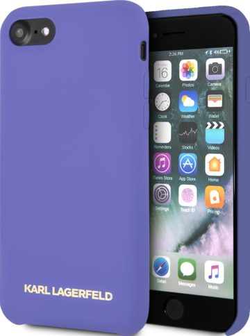 Lagerfeld iPhone 8 Silicone Gold Logo Hard Violet