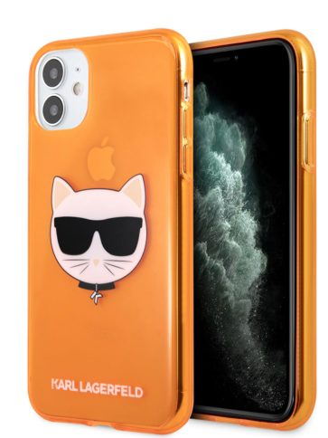 Lagerfeld iPhone 11 TPU Fluo Hard Transparent Orange
