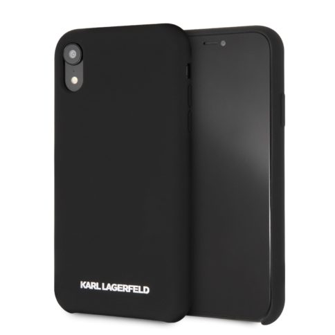 Lagerfeld iPhone Xr Silicone Silver Logo Black